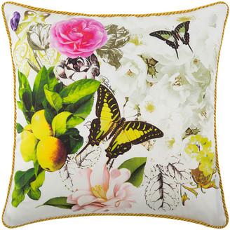 Roberto Cavalli Blaze Silk Bed Cushion - White - 40x40cm