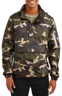 Climate Concept Men's 1/4 Zip Lightweight Camo Print Front Pouch Jacket With Reflective Trim, Up To Size 2Xl