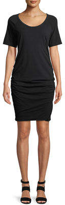 James Perse Side-Ruched Short-Sleeve Dress