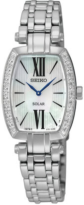 Seiko Women's Solar Tressia Diamond Accent Stainless Steel Bracelet Watch 22mm SUP283 $475 thestylecure.com