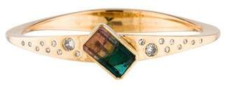 18K Watermelon Tourmaline & Diamond Bangle Bracelet