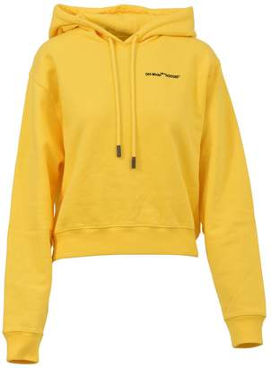 Off-White Yellow Cropped Hoodie