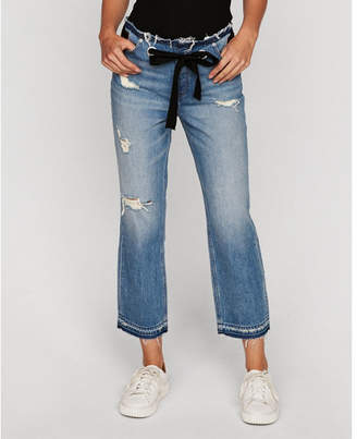 Express high waisted tie waist original straight cropped jeans