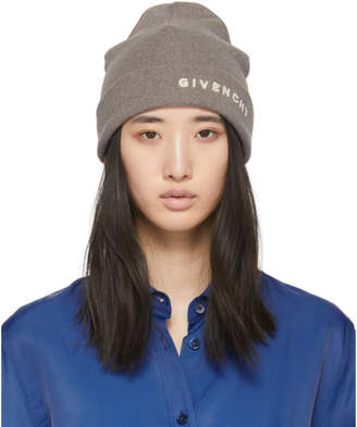 Givenchy Grey and Off-White Embroidered Logo Beanie