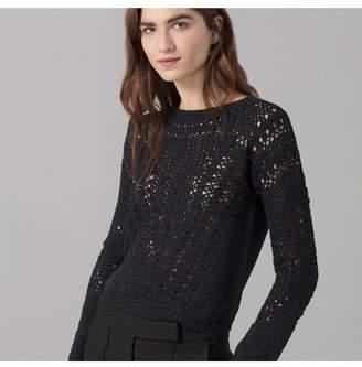 Amanda Wakeley Black Viscose Crochet Cropped Top