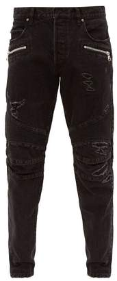 Balmain Distressed Straight Leg Biker Jeans - Mens - Black