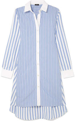 Clu Belted Striped Cotton Shirt Dress - Blue