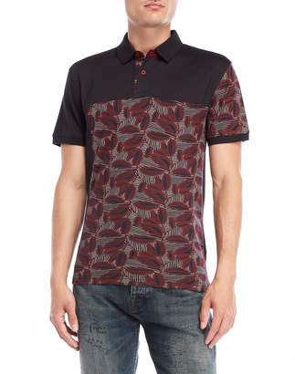 Desigual Black Printed Panel Polo