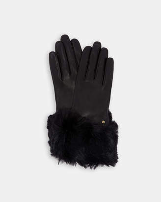 Ted Baker JULLIAN Leather faux fur trim gloves