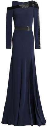 Amanda Wakeley Cold-Shoulder Bead-Embellished Crepe Gown