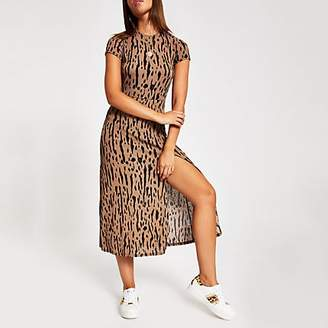 River Island Beige printed A line short sleeve midi dress