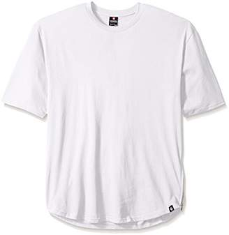 Southpole Men's Big and Tall Short Sleeve Basic Scallop Tee With Side Zipper Details