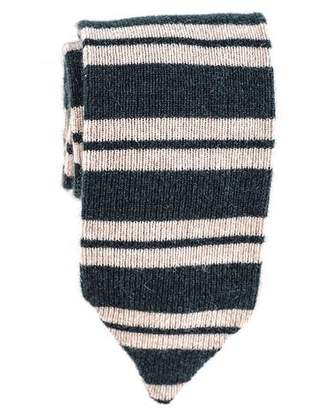 Black Green and Oatmeal Striped Cashmere Tie