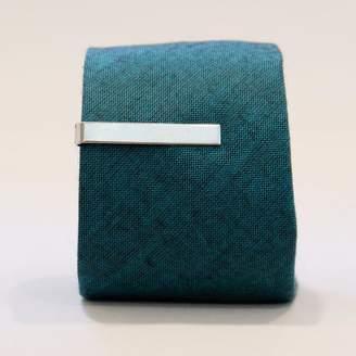 Blade + Blue Vintage Silver Tone Classic Bar Tie Clip