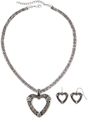 JCPenney MIXIT Mixit Simulated Marcasite Heart Pendant Necklace & Earring Set