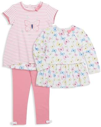 Little Me Little Girl's Three-Piece Butterfly Top, Striped Top and Leggings Set