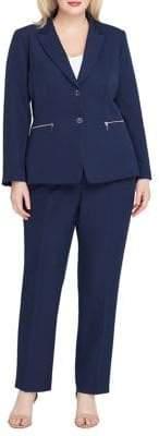Tahari Arthur S. Levine Plus Snap-Button Jacket and Straight-Leg Pant Suit