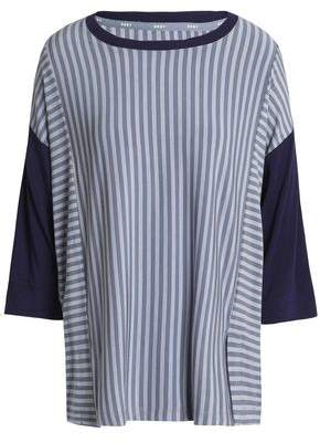 DKNY Paneled Striped Stretch-Modal Jersey Pajama Top