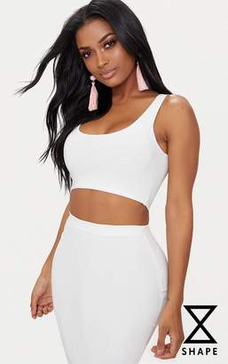 PrettyLittleThing Shape White Slinky Square Neck Crop Top