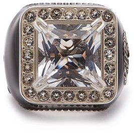 Gucci Crystal Embellished Signet Ring - Womens - Crystal