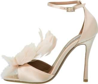 Tabitha Simmons Avary Feather Ankle Wrap Heel