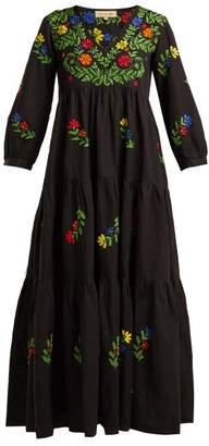 Muzungu sisters Muzungu Sisters - Frangipani Embroidered Cotton Dress - Womens - Black Multi