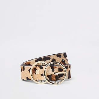 River Island Light beige leopard print double ring belt