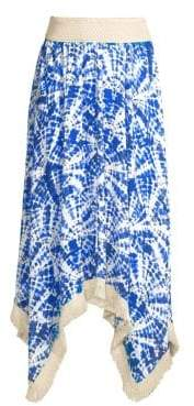 Ramy Brook Women's Printed Riviera Hankderchief Midi Skirt - Periwinkle - Size XS