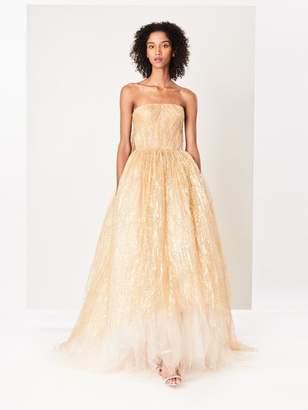 Oscar de la Renta Foil Splattered Tulle Gown
