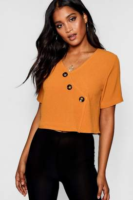 boohoo Button Detail Short Sleeve Blouse