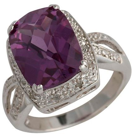 Sterling Silver 1/10-Ct. T.w. Diamond & Purple Sapphire Ring