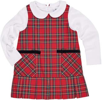 Florence Eiseman Tartan Plaid Jumper w/ Peter Pan-Collar Top, Size 2-6X