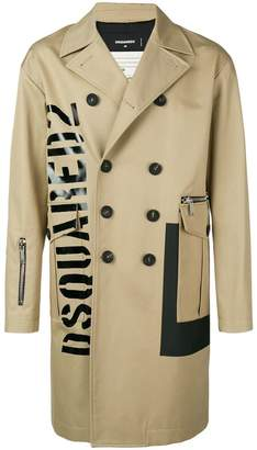DSQUARED2 logo double-breasted coat