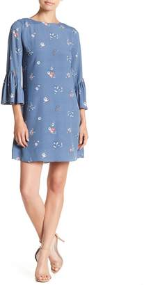 Vince Camuto Floral Print Ruffle Sleeve Dress (Petite)