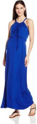 Everly Grey Women's Maternity Harmony Sleeveless Maxi Dress with Shoulder Ties
