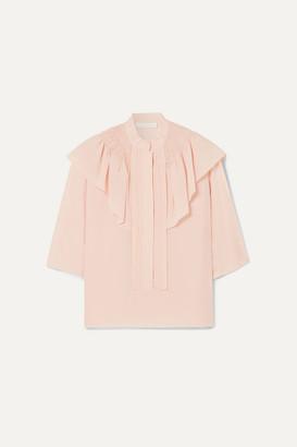 Chloé Ruffled Silk-crepe Blouse - Blush