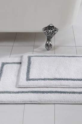 Amrapur Silver Reversible Contrast Stripe Bath Mat 2-Piece Set