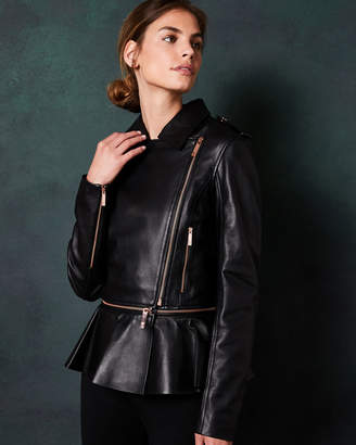 Ted Baker AHFIRAA Zip peplum leather jacket