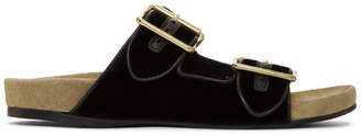 Prada Black Velvet Slip-On Sandals