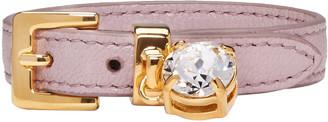 Miu Miu Pink Leather Crystal Belt Bracelet $150 thestylecure.com