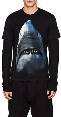 Givenchy Men's Shark-Print Cotton Cuban-Fit T-Shirt - Black