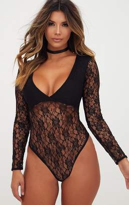PrettyLittleThing Black Lace V Neck Longsleeve Thong Bodysuit