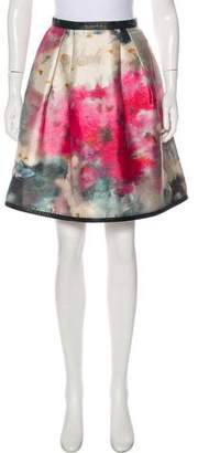Honor Leather-Trimmed Watercolor Skirt