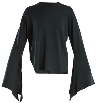 Tibi Slit Side Wool Blend Knit Sweater - Womens - Dark Green