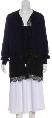 Oscar de la Renta Cashmere Lace-Trimmed Cardigan Set