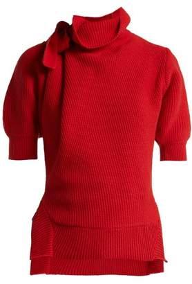 Self-Portrait Self Portrait High Neck Cotton Blend Sweater - Womens - Red
