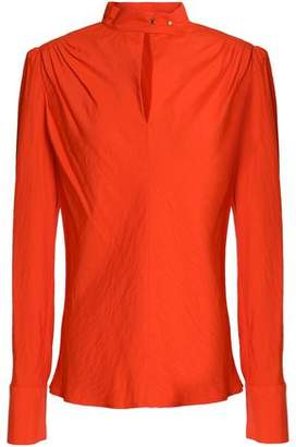 Maje Lange Neon Pleated Poplin Blouse