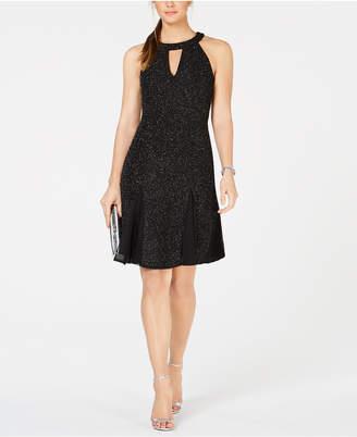Night Way Nightway Glitter-Knit A-Line Dress