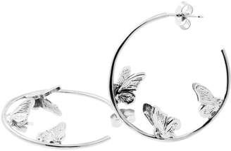Lee Renee Butterfly Hoop Earrings - Silver