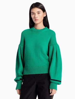 Calvin Klein cotton knit poet sleeve sweater